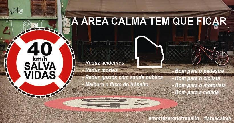 Área Calma: 40km/h salva vidas